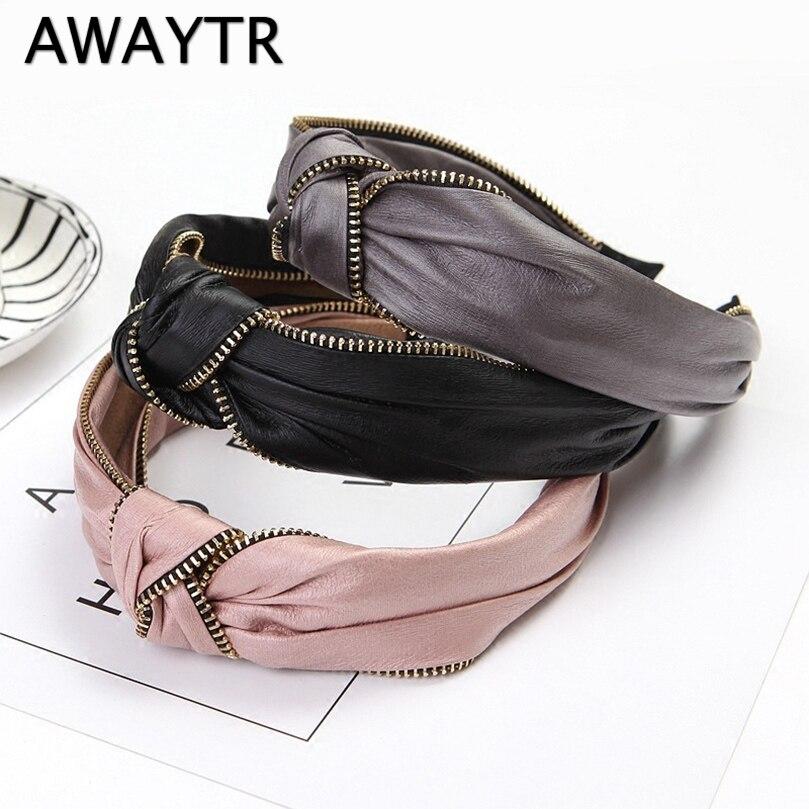 AWAYTR Retro Solid Color Headband For Women Leather Headdress Korean Alloy Zipper Bezel Hair Accessories Ladies Wide Hair Loop