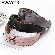 AWAYTR Retro Solid Color Headband For Women Leather Headdress Korean Alloy Zipper Bezel Hair Accessories Ladies Wide Loop