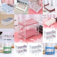 1:12 Dollhouse Miniature Wooden Bed With Pillow Or Bunk Bed Doll House Bedroom Furniture Doll House Accessories New