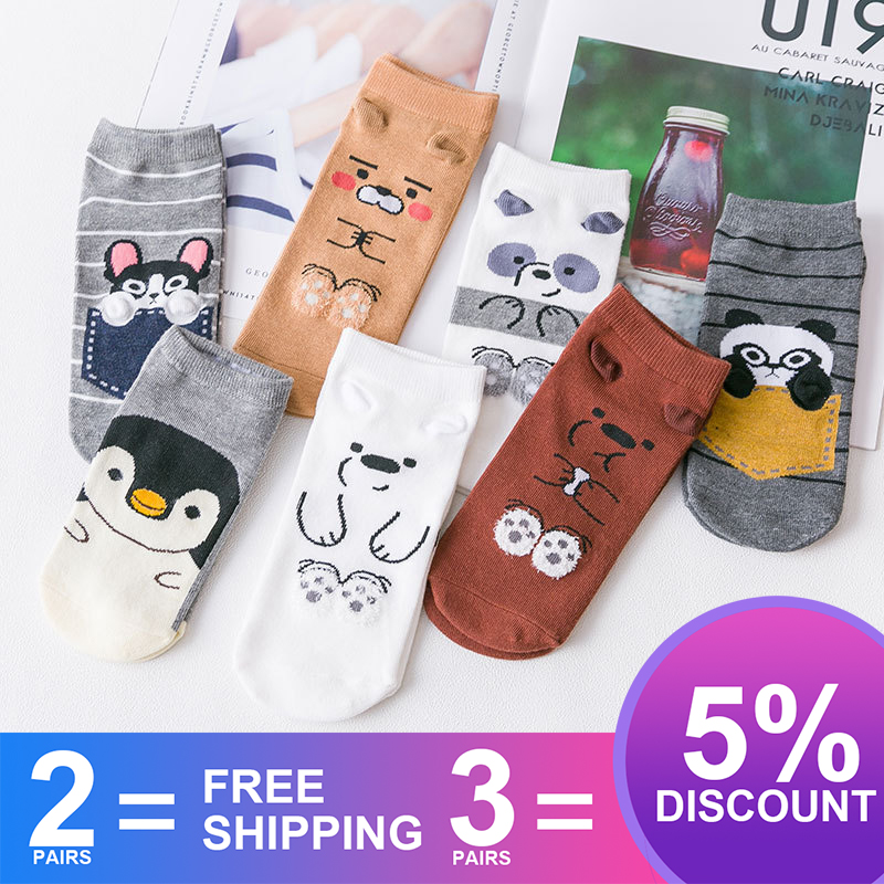 Women Cotton Socks Winter Thicker Cold-proof Funny Dog/Penguin/Panda Pattern Sweat-absorbent Ankle Socks Female Mid Socks SA-8