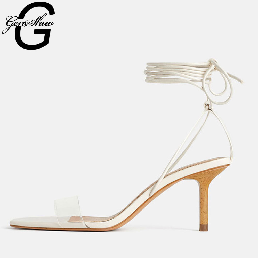 GENSHUO Strappy Heels Sandals Clear