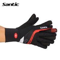 Santic Cycling Gloves Winter Men Keep Warm Shockproof Non slip Gel Pad MTB Road Bike Gloves Full Finger Cycling Equipment