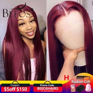 Image 1 - Bordo 99J 13*6 derin kısmı dantel ön İnsan saç peruk bebek saç ile düz ön koparıp Hairline peruk brezilyalı Remy peruk
