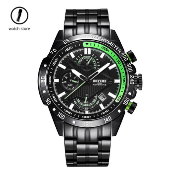 Boyzhe  Waterproof Sports Mens Watches Top Brand Luxury Automatic Mechanical Watch Business Stainless Steel Wristwatch 2019