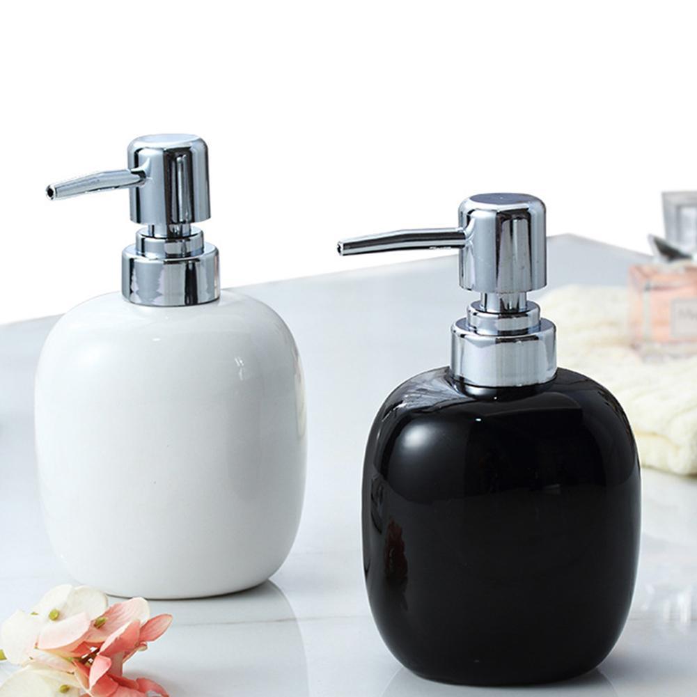 Ceramic Soap Bottle Bathroom Hand Soap Shampoo Shower Gel Liquid Dispenser With Pump Dispenser Container Outdoor Travel Bottle