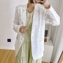 Свежий осенний цветочный принт цвета в цветочек с длинным рукавом Blaser одной женщины причинно пиджак женский карманы одежды латали Белый all-матч