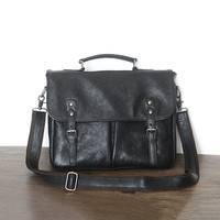 Vegetable Tanned Leather Men's Briefcase Full Grain Cow Leather Laptop Bag Genuine Leather Business Shoulder Bags