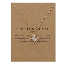 Simple Life Is Magical Animal Horse Pendant Necklace Clavicle Chains Chockers Women Girl Valentines Day Gifts Jewelry