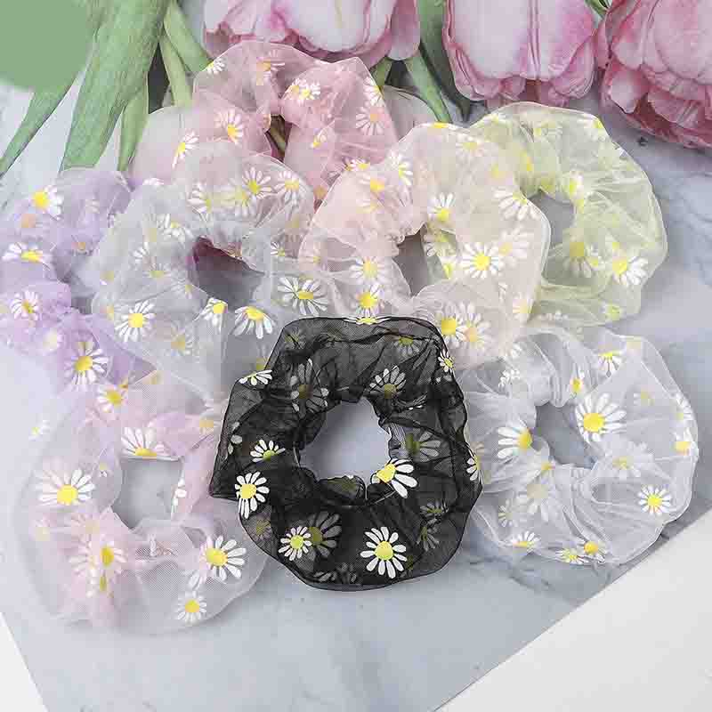Fashion Lace Flower Printed Hair Scrunchies Women Headdress Ponytail Holder Hair Ropes Elastic Hair Bands Accessoires