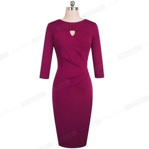 Image 4 - 素敵な永遠のヴィンテージエレガントな純粋な色オフィスレディース vestidos ビジネスパーティーボディコン秋女性ペンシルドレス B555
