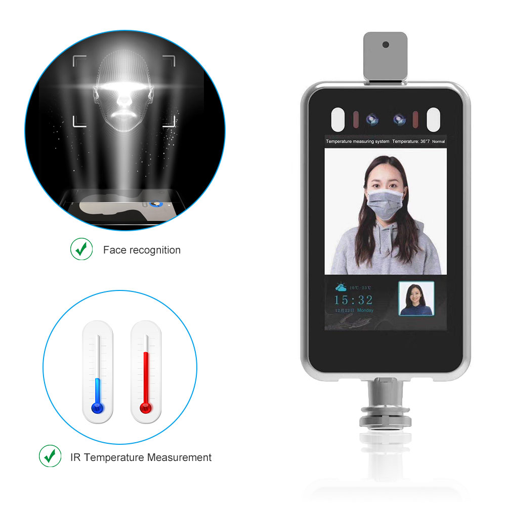 Face Recognition And Temperature Indicator HD Camera Thermal Infrared Human Body Temperature Detect Access Control