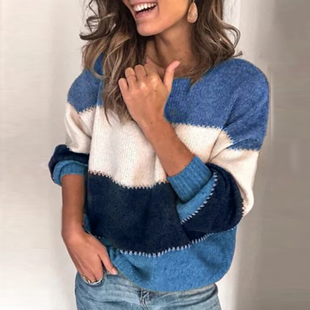 Women's Sweater Autumn And Winter Warm Knit Sweater Women Pullover Casual O-neck Long-sleeved Patchwork Striped Pullover 2020