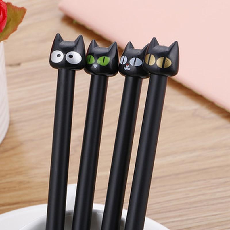 1pcs Cat Gel Pen 0.5mm Cute Pens Novelty Stationery Kawaii Pen Student Cute Black Cartoon Writing Pens Kawaii School Supplies