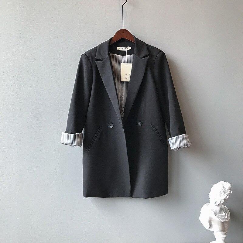 Mooirue Fall Femme Black Balzer Coat Single Breasted Slim  Casual Cardigan Feminine Tops