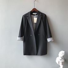 цена на Mooirue Fall Femme Black Balzer Coat Single Breasted Slim  Casual Cardigan Feminine Tops