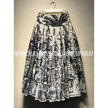 Юбка с растительным принтом Ранняя весна женская Высококачественная плиссированная юбка с высокой талией юбка-трапеция
