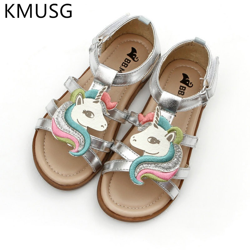 Girls Unicorn Sandals Summer 2020 Open-toed Beach Jelly Shoes Kids Gladiator Sandals Unicorn Slippers Infant Baby Child 05
