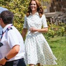 Kate middleton moda 2021 verão feminino nova elegante casual festa gentlemmulher manga curta lapela camisa vestido