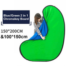Big Size Outdoor Portable Chroma Key Backdrop Blue Green Screen Photo Background Photography Reflector Backdrops 150x200cm 2in1