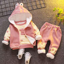 Baby girls warm clothing sets newborn baby cute cotton vest+tops+pants 3pcs tracksuits for bebe toddler cartoon thick velvet set(China)
