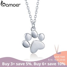BAMOER Genuine 925 Sterling Silver Cute Animal Footprints Dog Cat Footprints Paw Necklaces Pendants Women Silver Jewelry SCN275(China)
