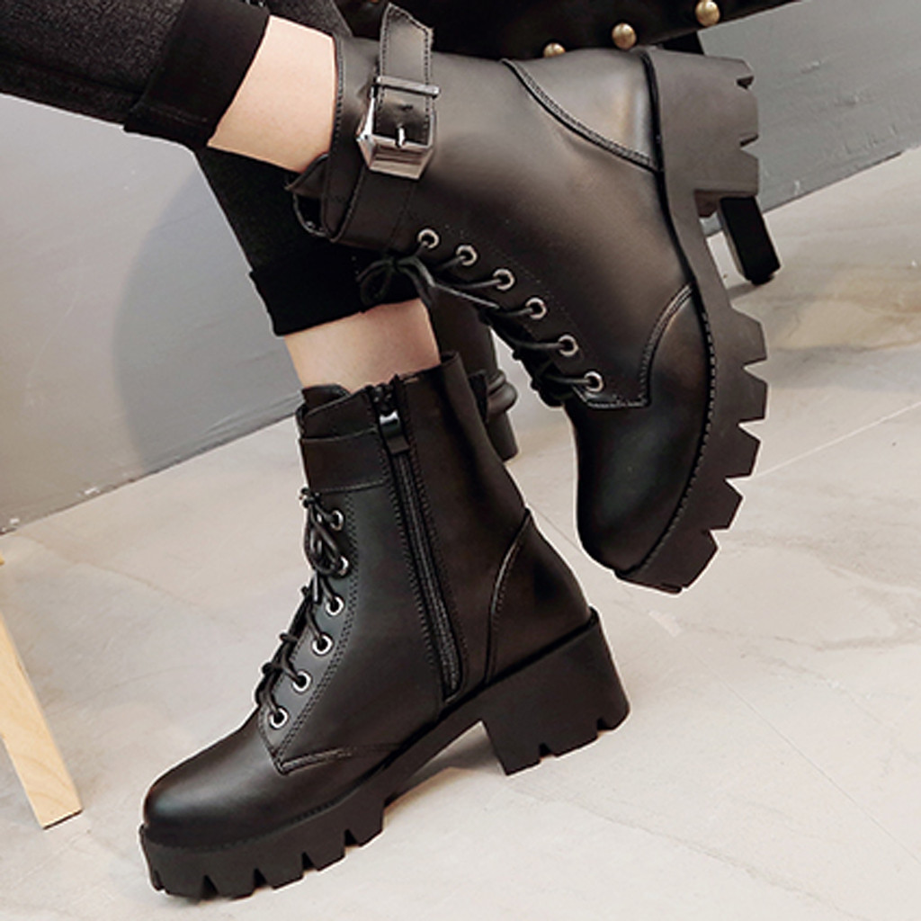 Fashion Leather Martins Boots Woman shoes Winter Warm Lace-up Ankle Boots For Woman High Quality Waterproof Platform Boots Drop