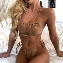 İki parça mayo Strappy bandaj katı Bikini Bandeau Bikini Set plaj mayo kumlu plaj yüksek kaliteli Bikini mayo kadınlar #35