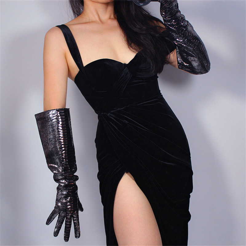 REAL LEATHER LONG GLOVES Unisex Wide Sleeves Silver Shine Black Lizard Snakeskin 50cm Wide Sleeve Leather Gloves WZP09