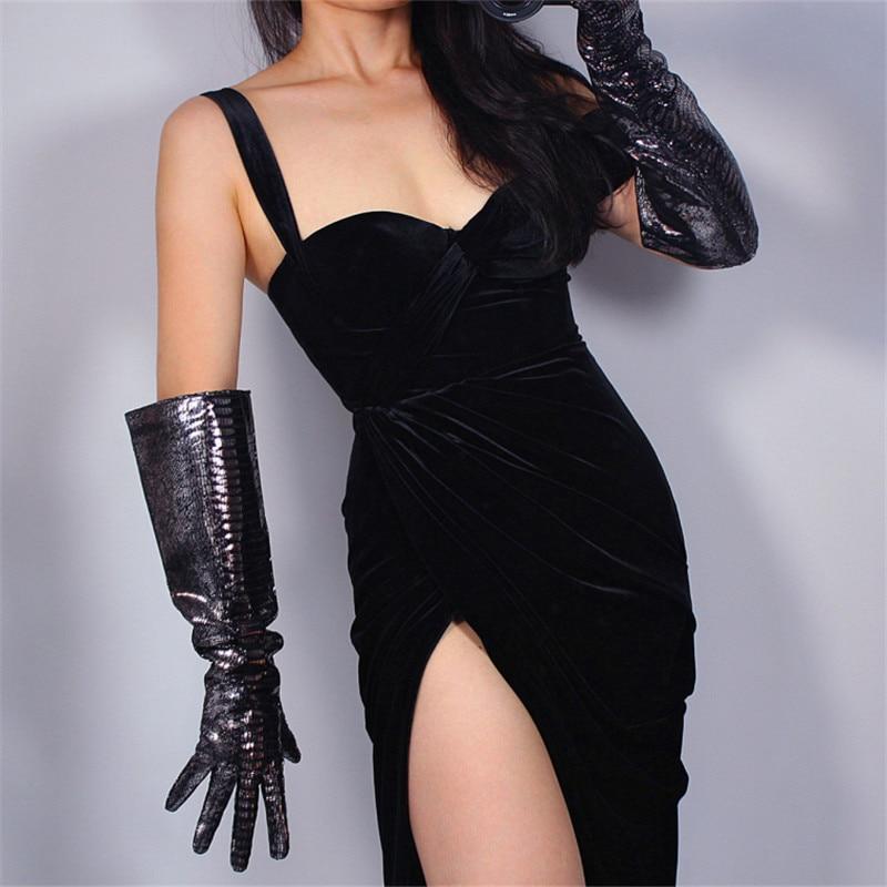 REAL LEATHER LONG GLOVES Unisex Wide Sleeves Silver Shine Black Lizard Snakeskin 50cm Wide Sleeve Leather Gloves WZP09