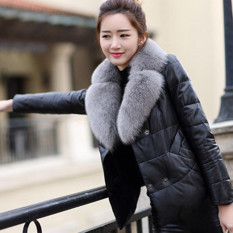 100% Natural Sheepskin Coat Female Winter Real Fox Fur Collar Duck Down Jacket Women Korean Genuine Leather Down Jackets Hiver