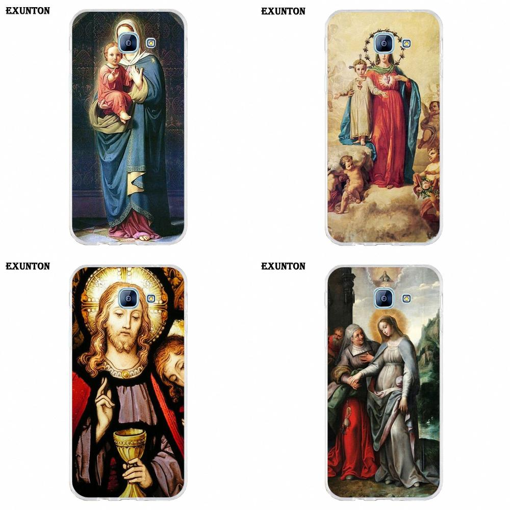 For Galaxy A3 <font><b>A5</b></font> A7 A8 A9 A9S On5 On7 Plus Pro Star 2015 <font><b>2016</b></font> 2017 2018 Soft Cell Phone Case Cover Virgin Mary Christ Jesus image