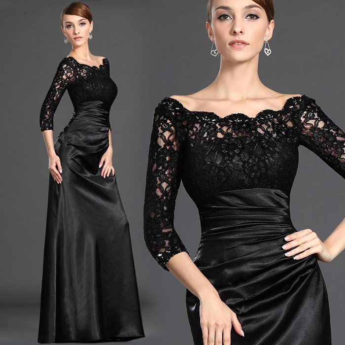 Three Quarter Sleeve Black Lace Long Evening Gown 2018 Crystal Robe De Soire Vestidos De Festa Longo