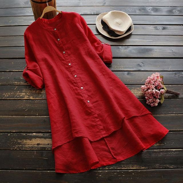 #H40 Casual Loose Cotton And Linen Blouse Women Soild Button Long Sleeve Long Shirt Womens Tops And Blouses Blusa Feminina 2