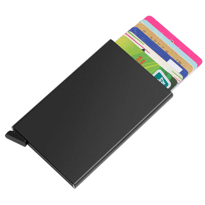 New Automatic Slide Aluminum ID Cash Card Holder Business RFID Blocking Wallet Credit Card Protector Case Purse Custom Logo