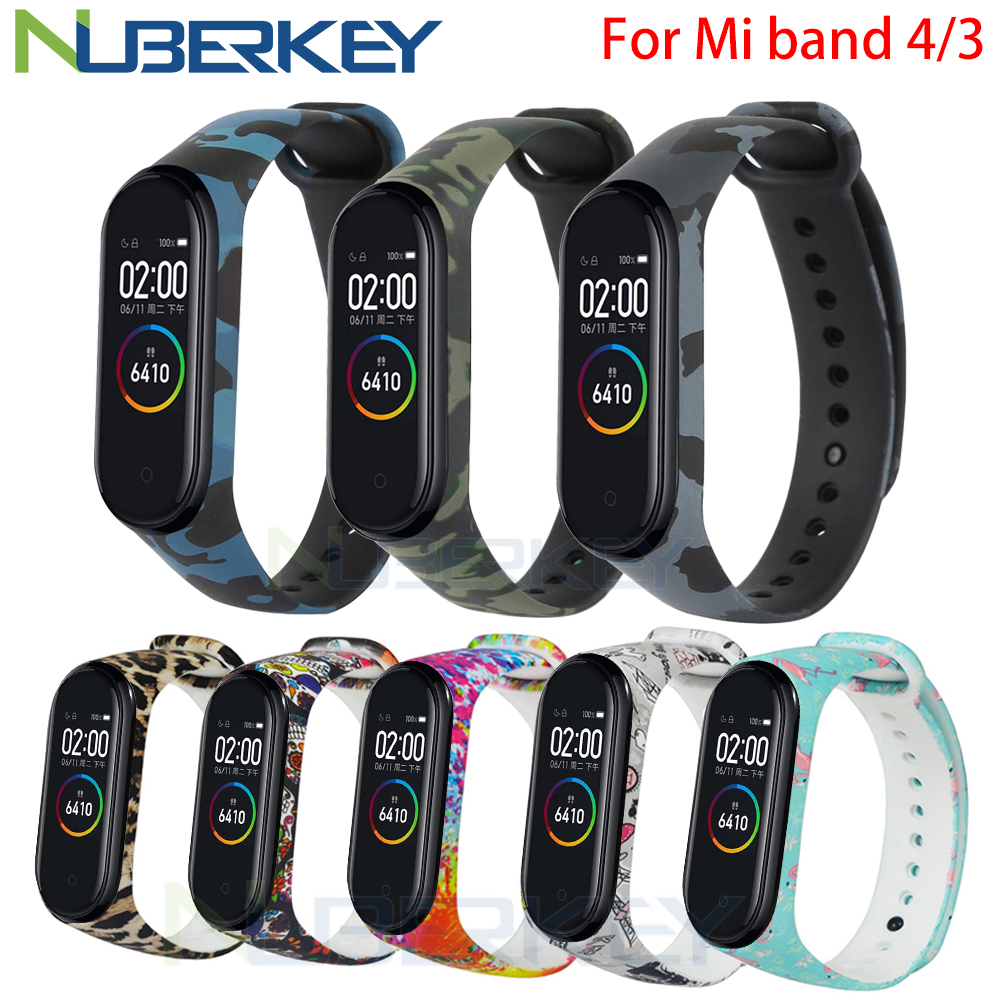Camouflage Bracelet For Xiaomi Mi Band 4 Strap Silicone Printing Flowers Strap Miband 3 Accessories For Xiaomi Miband 4 NFC Band