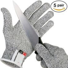 5 Pairs Anti Cut Gloves Grade Level 5 Safety High-strength Kitchen Cut Resistant Glove Cutting Safety Gloves Emergency Kit