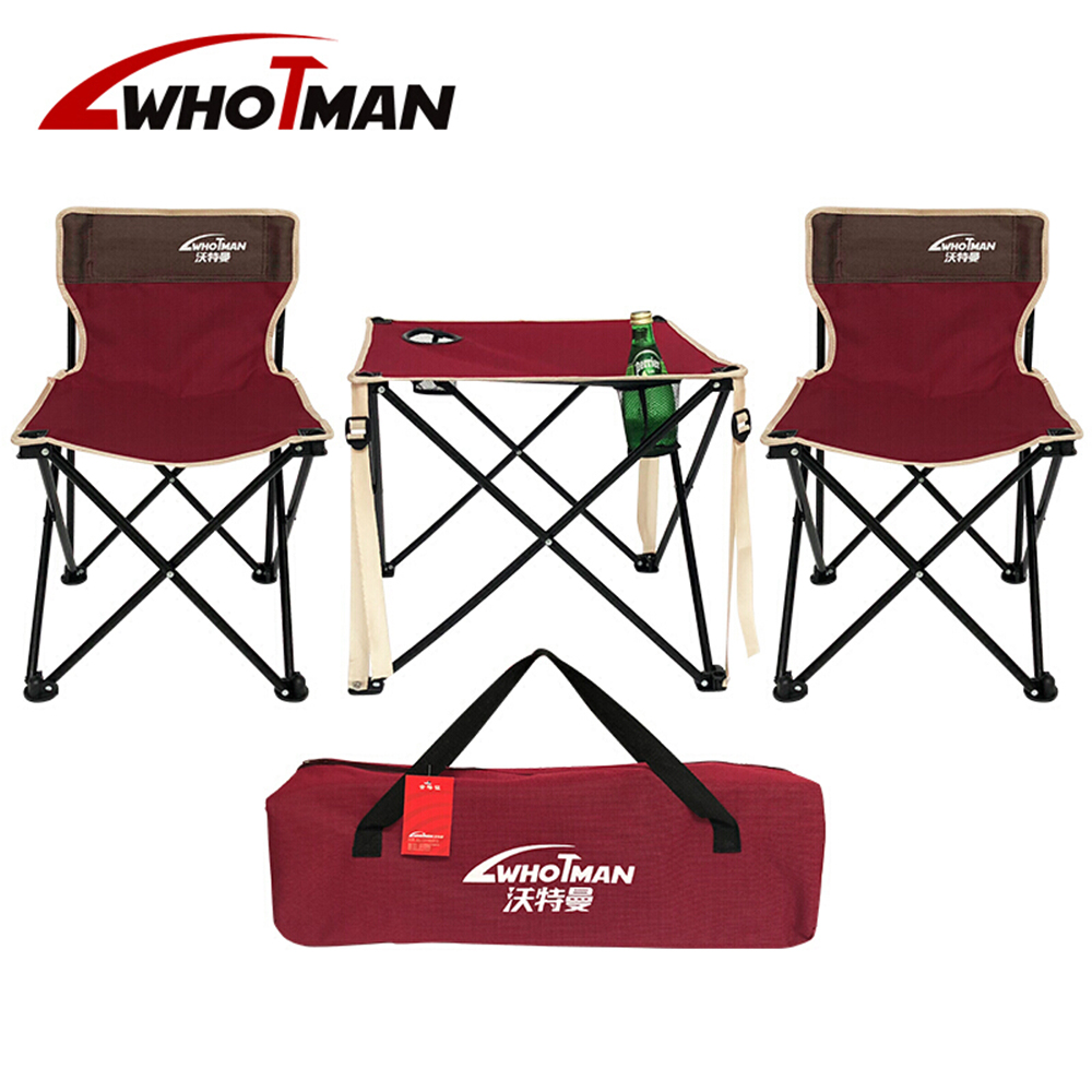 Folding Camping Table 2 Chairs Garden Set Portable Lightweight Seat Stool Outdoor Hiking Patio Travel Picnic With Carrying Bag