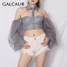 GALCAUR Hollow Out Women Shirt Lapel Collar Lantern Long Sleeve Patchwork Mesh S