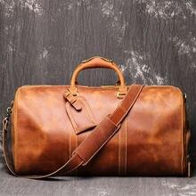 Портативная Дорожная сумка из натуральной кожи crazy horse кожаная