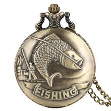 Bronze Big Fishing Case Pocket Watch for Men Concise Large White Dial with Necklace Chain Pendant Watches relogio de bolso with gift box vintage pocket watch necklace chain captain america bronze pendant women men quartz watches sets relogio de bolso