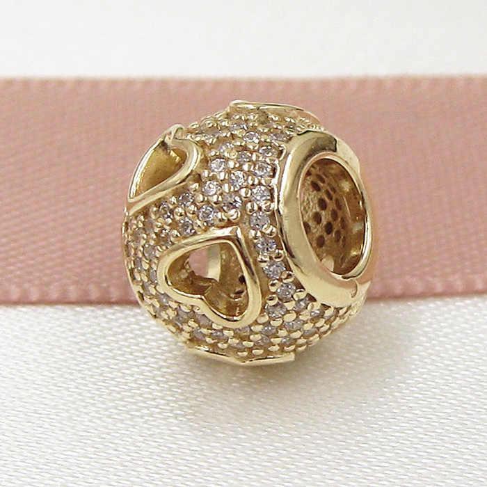 Original GOLD สี Openwork Tumbling Hearts พร้อมคริสตัลลูกปัด Fit 925 เงินสเตอร์ลิง Pandora สร้อยข้อมือ DIY เครื่องประดับ