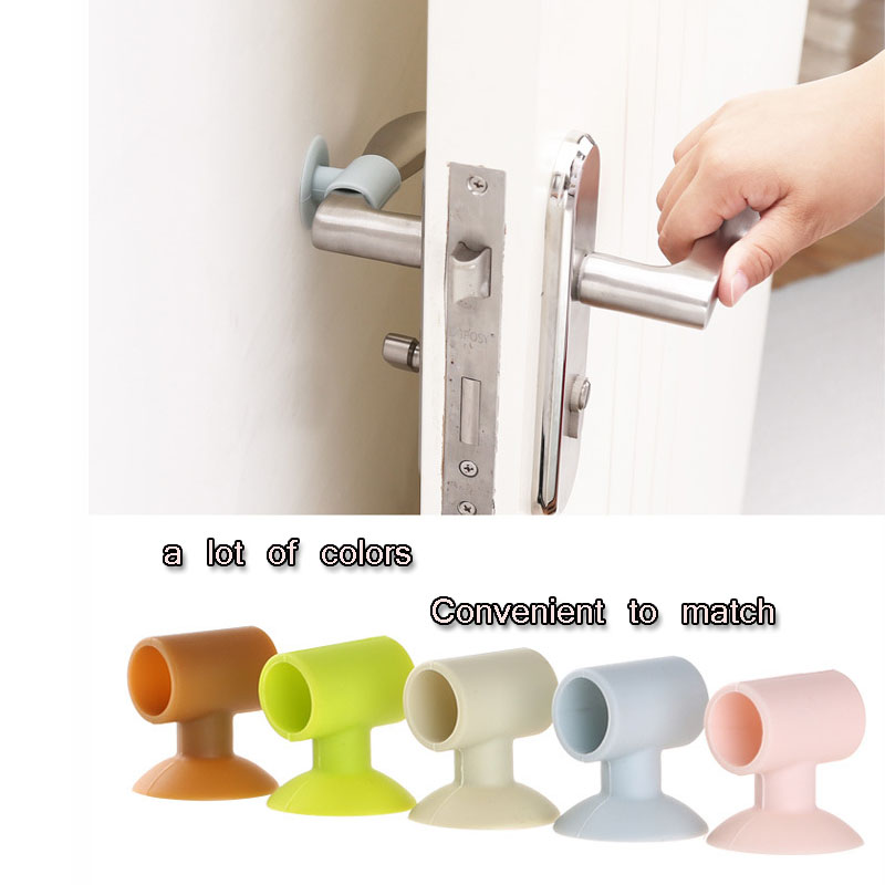 Rubber Home Doorknob Back Wall Protector Sucker Type Door Rear Wall Protection Pad Mute Doorknob Safety Cover Anti-collision