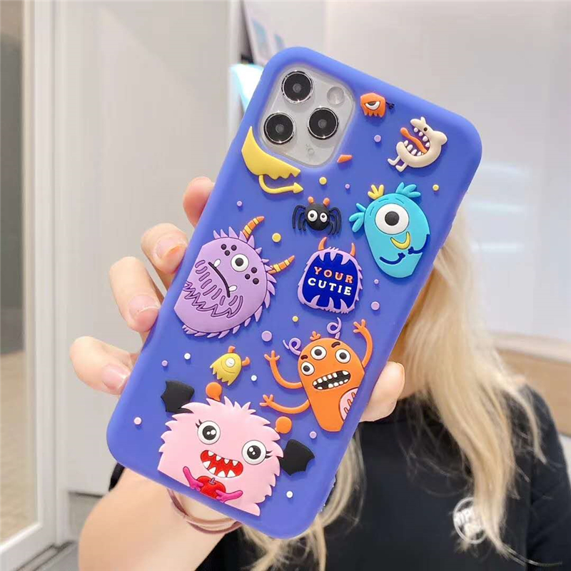 360 Full Protection Silicone Phone Case For Iphone 12 Mini 11 Pro X XS MAX XR 6 6S 7 8 Plus 3D Cute Cartoon Dinosaur Soft Cover