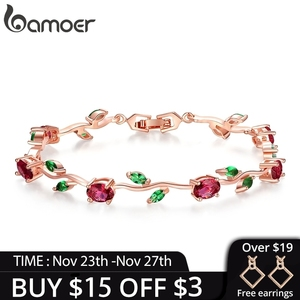 BAMOER Rose Gold Color Leaf Chain & Link Bracelet with Red + Green AAA Zircon for Mother Gifts Jewelry JIB072