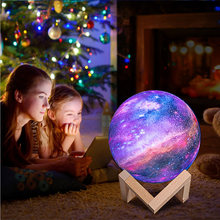 16 color 3D printing star moon lamp color changeable touch home decoration creative gift USB LED Night Light Galaxy lamp(China)