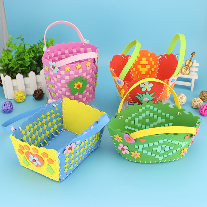 Craft Kits For Children Eva Woven Flower Basket Kindergarten Handmade Material Package DIY Flower Basket Kids Educational Toys