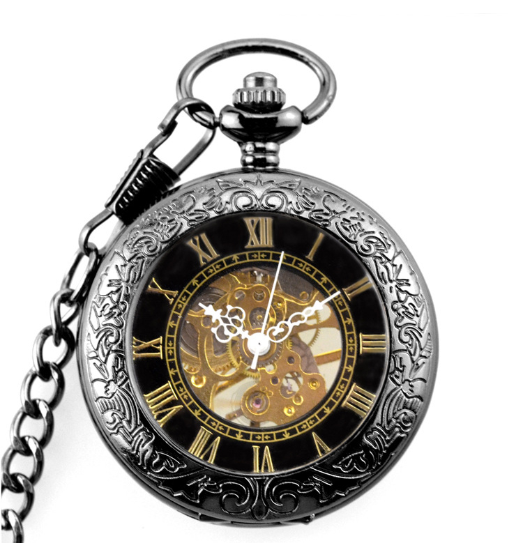 2019 Retro Steampunk Pocket Watch Black Mechanical Pocket Watches Skeleton Vintage Pocket Fob Watch Chain Dropshipping