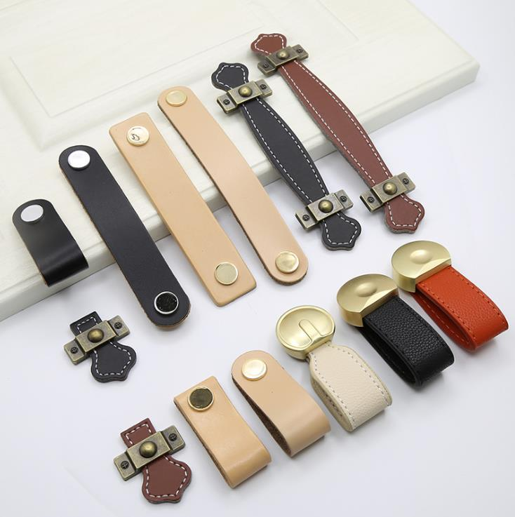 LCH Simple Zinc Alloy Leather Cabinet Pull Cabinet Handle Furniture Handles Simple Life Brass Knob Modern Cabinet Pulls