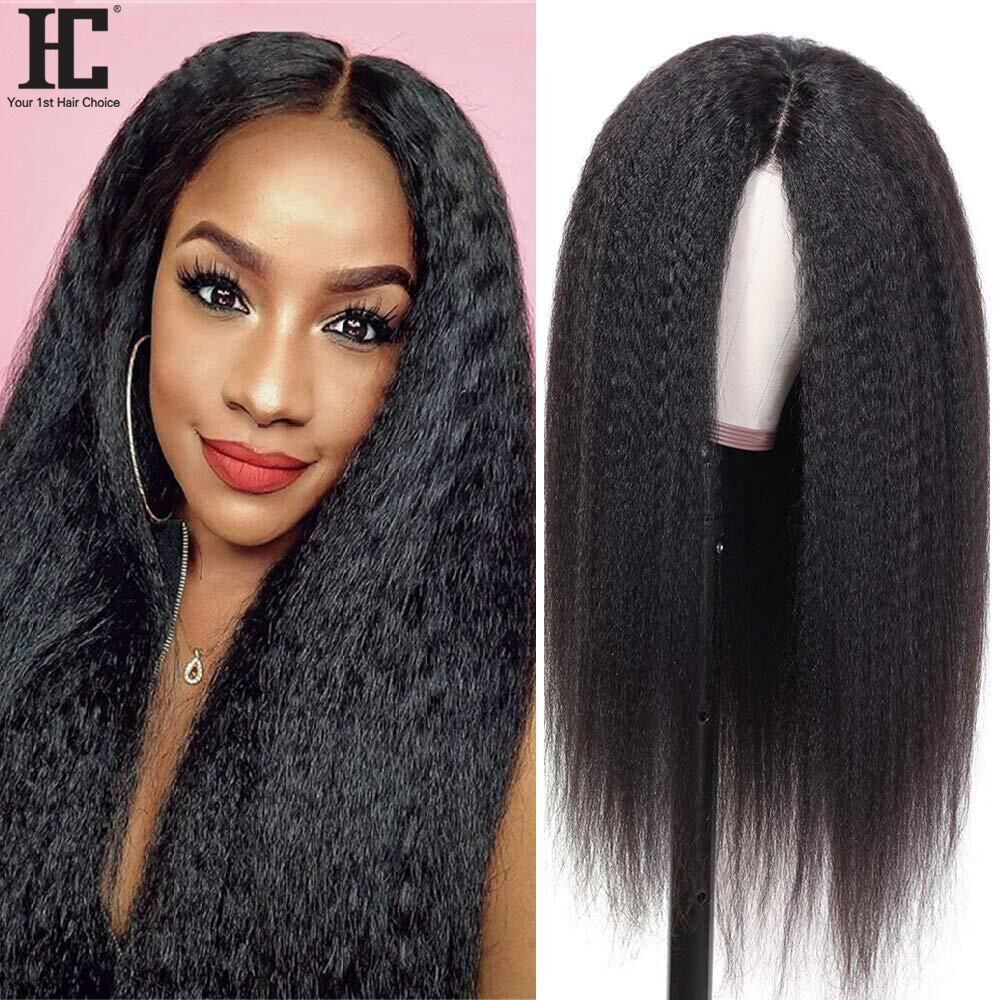 Парик шнурка бразильские кудрявые прямые синтетические волосы на часть парик 180% предварительно вырезанные натуральных волос 13x1 парики шну...