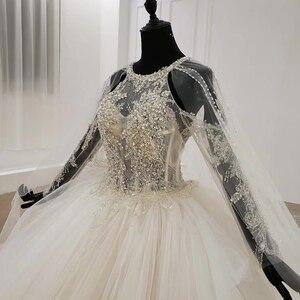 Image 5 - HTL1122 свадебное платье с длинным рукавом, специальное бальное платье с круглым вырезом и аппликацией из бисера, платье невесты с длинным шлейфом, abiti da sposa